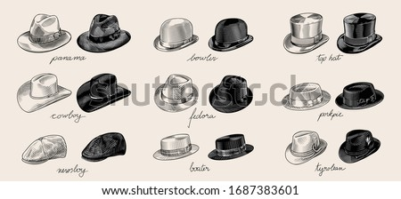 Vintage vector collection of men's hats in engraved drawing line art style. High quality black and white illustration.  Stock photo ©