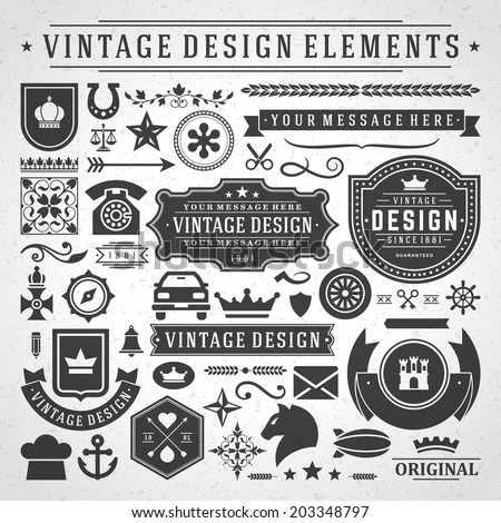 Vintage vector design elements Retro style golden typographic labels tags badges stamps arrows and emblems set