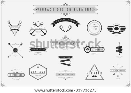 Vintage vector design elements, Retro style labels.