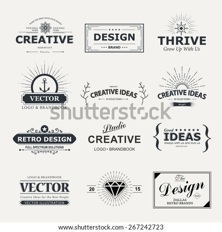 Vintage vector design elements. Retro style typography labels, tags, badges, stamps, arrows and emblems set.