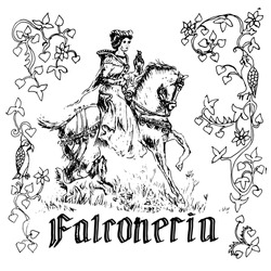 Vintage vector drawing in the style of medieval engraving. The Latin inscription is falconry. A girl rides a horse and holds a Falcon on her hand. The frame is made of an old ornament. Hand-drawn