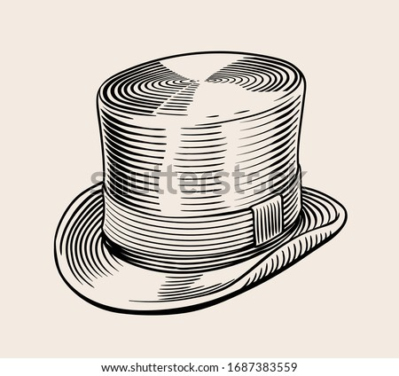 Vintage vector engraved line art illustration of classic top hat. High quality Black and white isolated drawing. Stock photo ©