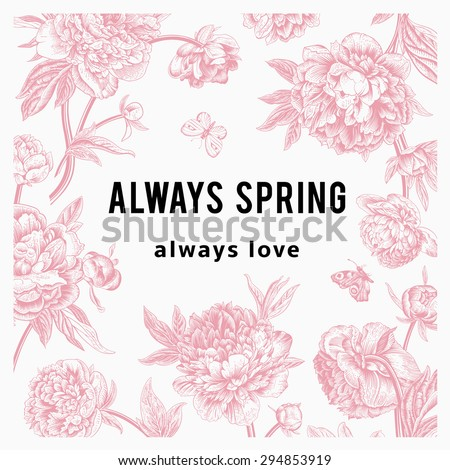 vintage vector floral card