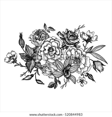 vintage vector floral composition, isolated element in victorian style, flowers, buds and leaves, ink drawing, imitation of engraving, hand drawn composition #520844983