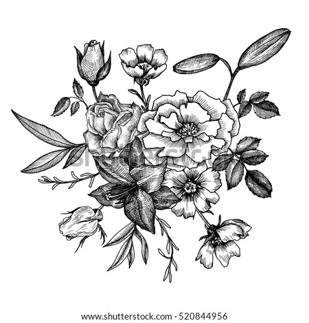 vintage vector floral composition, isolated element in victorian style, flowers, buds and leaves of roses, ink drawing, imitation of engraving, hand drawn composition #520844956