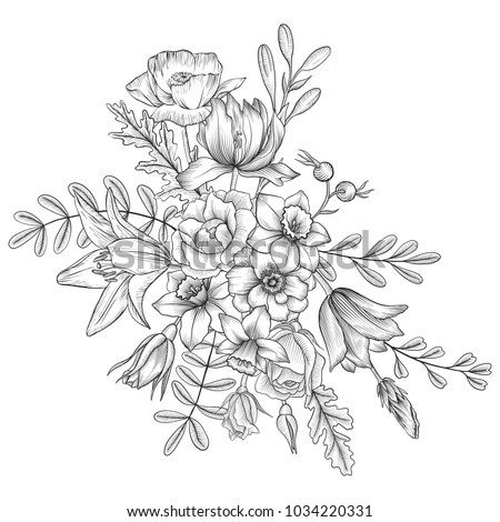 vintage vector floral composition with flowers and leaves, imitation of engraving, hand drawn design element #1034220331