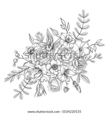 vintage vector floral composition with flowers and leaves, imitation of engraving, hand drawn design element #1034220535
