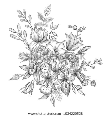 vintage vector floral composition with flowers and leaves, imitation of engraving, hand drawn design element #1034220538
