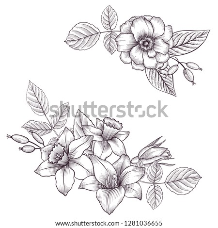 vintage vector floral composition with flowers, buds and leaves of roses, imitation of engraving, hand drawn design element #1281036655