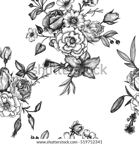 vintage vector floral seamless pattern in victorian style with flowers, buds and leaves, ink drawing, imitation of engraving, hand drawn background #519752341