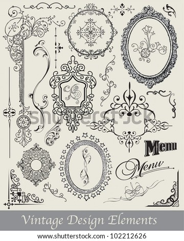 Vintage Vector Flourishes and Frames.  Use on various paper craft projects or invitations and menus.