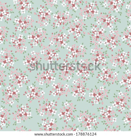 vintage vector flowers seamless pattern