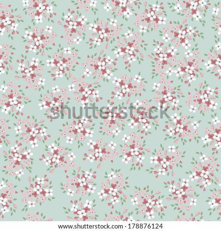 vintage vector flowers seamless pattern