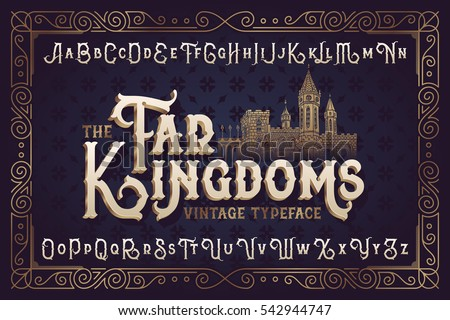 Golden medieval goblet vectors download free vector art stock vintage vector font elegant royal typeface in medieval ancient style stopboris