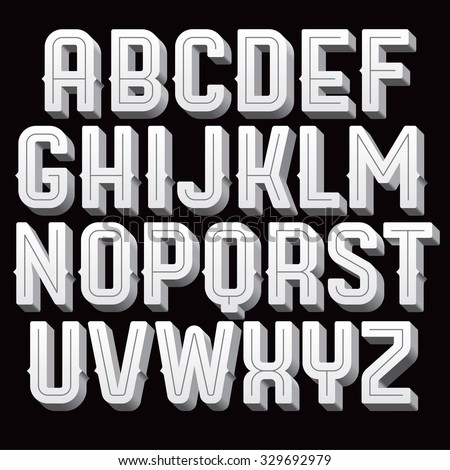Vintage vector font. Retro type for titles and poser design. Black and white alphabet with volume letters.