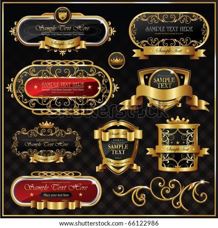 Vintage vector gold frame on black background