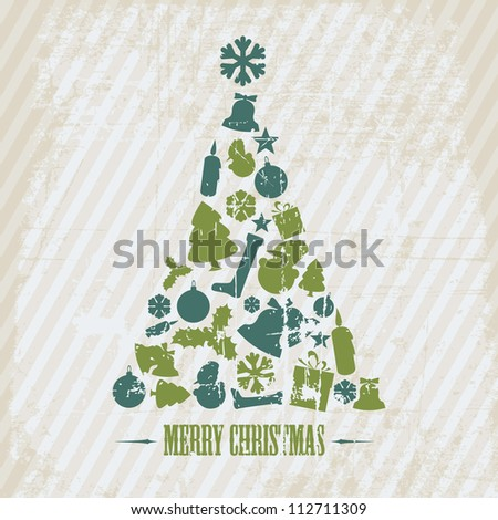 Vintage Vector Grunge Christmas tree made from various shapes (blue and green)