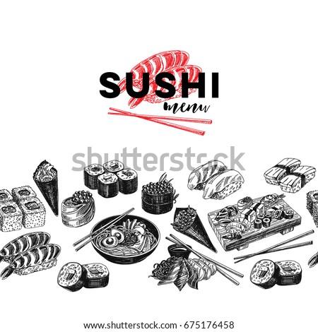 Vintage vector hand drawn Japanese food sketch Illustration.. Retro style  border. Sushi bar menu.