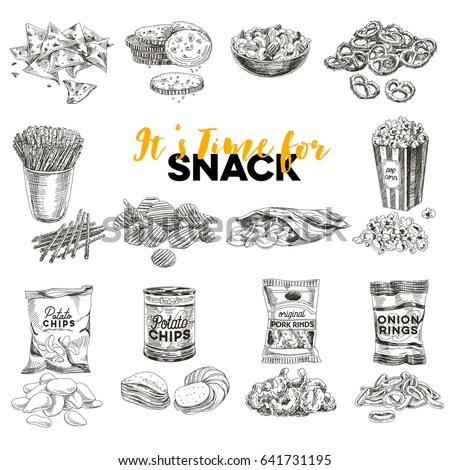 vintage vector hand drawn snack