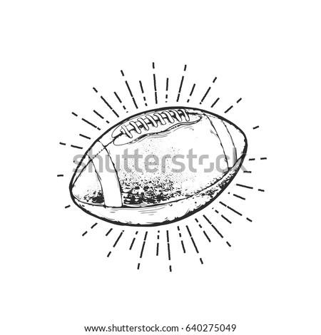 Vintage vector illustration - American football ball emblem design