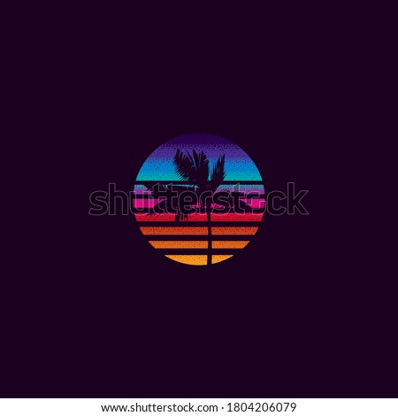 Vintage vector illustration. Palm tree on the background of a sunset in the retro style of the 80's. t-shirt design. Stok fotoğraf ©