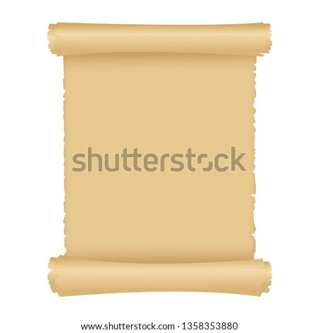 Vintage vector illustration style of parchment or old paper scroll. Antique magic scroll with copy space.Object isolated on white background.
