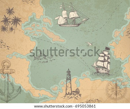 Nautical map download free vector art stock graphics images vintage vector marine map with sailing vessels ancient map with ships and compass gumiabroncs Images
