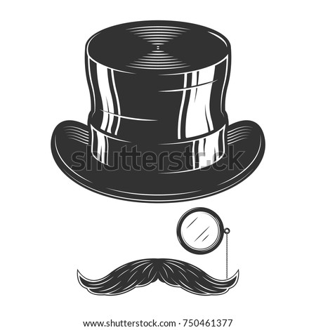Vintage vector monochrome illustration of top hat and moustache, monocle isolated on white background