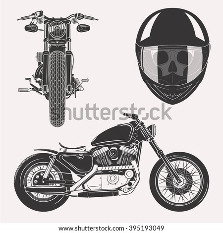 vintage vector motorcycle set