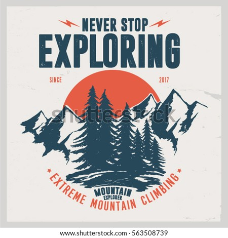 Vintage vector of wilderness and nature exploration with grunge textures.