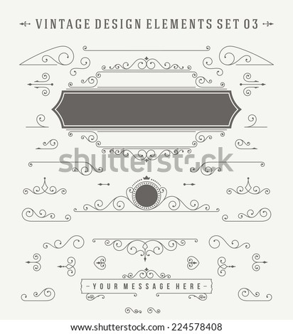 Vintage Vector Ornaments Decorations Design Elements. Flourishes calligraphic combinations retro design for Invitations, Posters, Badges, Logotypes and other design.