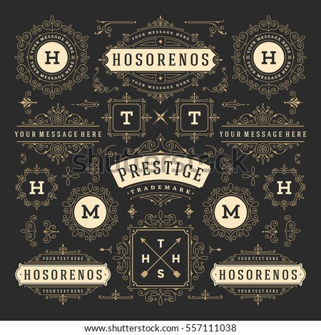 Vintage Vector Ornaments Decorations Design Elements. Flourishes calligraphic combinations Retro Logos, Royal Greeting cards, Crest Frames or Invitations.