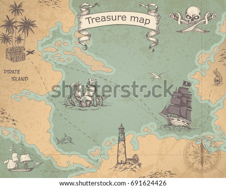 Vintage vector pirate map with sailing vessels. Ancient treasure map with ships and compass. #691624426