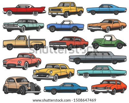 Vintage vector retro cars and vehicle isolated objects. Old classic and antique vehicle models of muscle sport rally car, truck and cabriolet, coupe or convertible sedan, retro transport