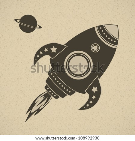 Vintage vector rocket in space. This image is fully editable.