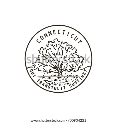 Vintage vector round label. Connecticut. Oak.