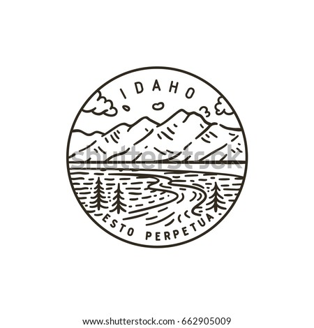 Vintage vector round label. Idaho. Teton river.