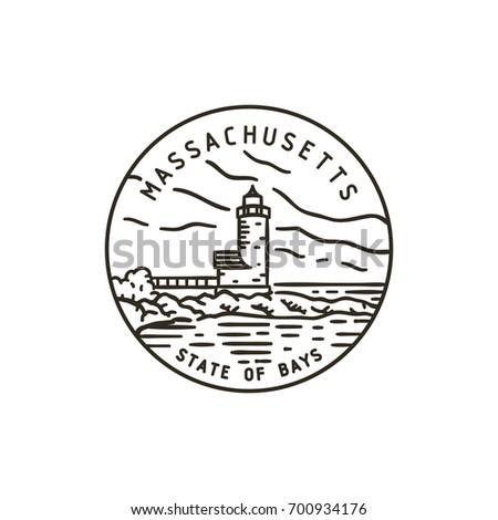 Vintage vector round label. Massachusetts. Lighthouse.