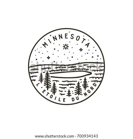 Vintage vector round label. Minnesota. Forest lake.