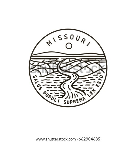 Vintage vector round label. Missouri. River.