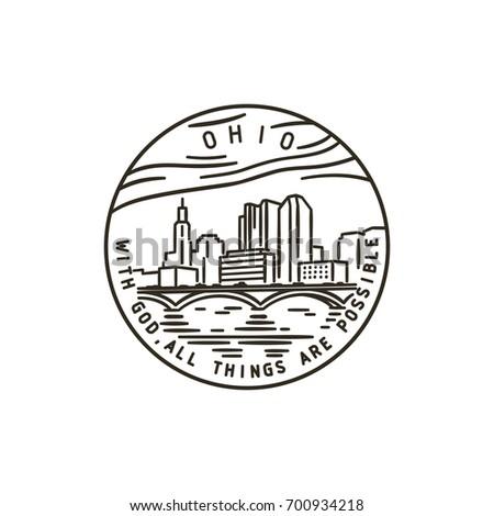 Vintage vector round label. Ohio. Columbus.