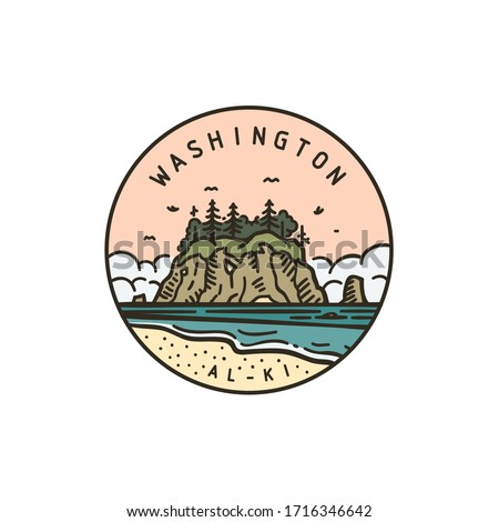 Vintage vector round label. Washington. Island National park