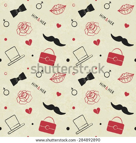 Vintage vector seamless pattern background with male and female related symbols 2