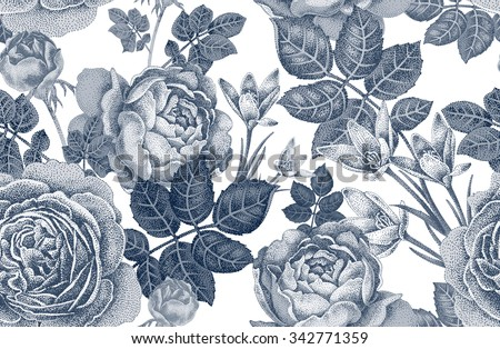 Vintage Vector Seamless Pattern Black And White Illustration With Roses Spring Flowers Floral