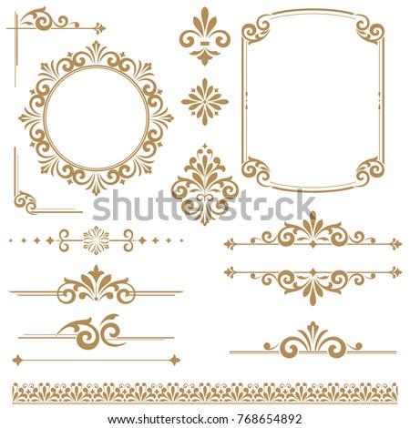 Vintage vector Set. Floral elements for design monograms, invitations, frames, menus and labels. Graphic design of the website, cafes, boutiques, hotels, wedding invitations.