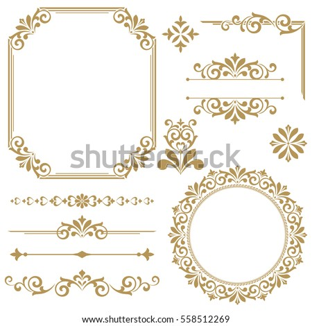 Vintage vector Set. Floral elements for design of monograms, invitations, frames, menus, labels and websites. Graphic elements for design of catalogs and brochures of cafes, boutiques #558512269