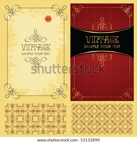Vintage vector set: framework, pattern and background