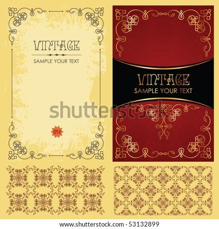 Vintage vector set: framework, pattern and background