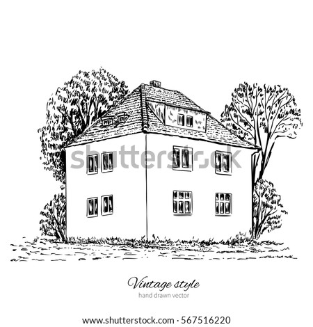 Vintage vector sketch tile old european house, mansion, Historical building sketchy line art isolated, touristic postcard, poster, calendar template, page idea with european houses, book illustration