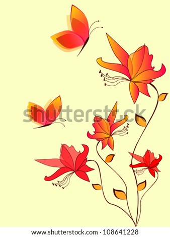 Vintage vector summer flowers with butterfly